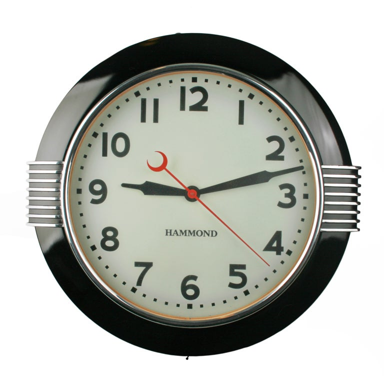 Large Art Deco Illuminated Hammond Sychronous Wall Clock