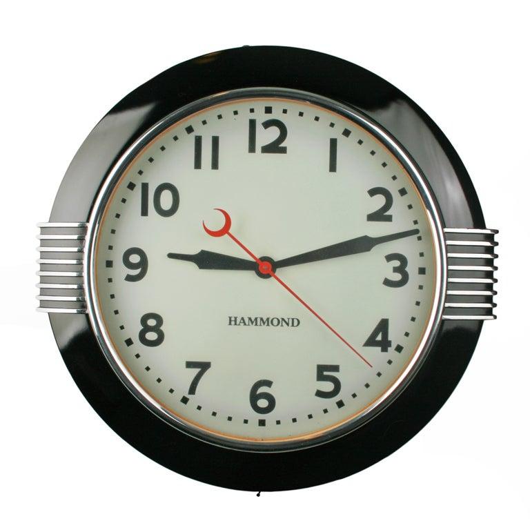 Large Art Deco Illuminated Hammond Sychronous Wall Clock ...