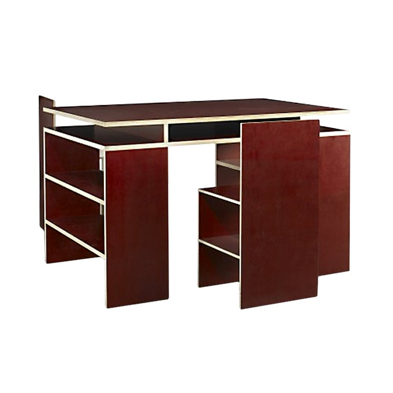 Red Desk with Two Chairs by Donald Judd at 1stdibs