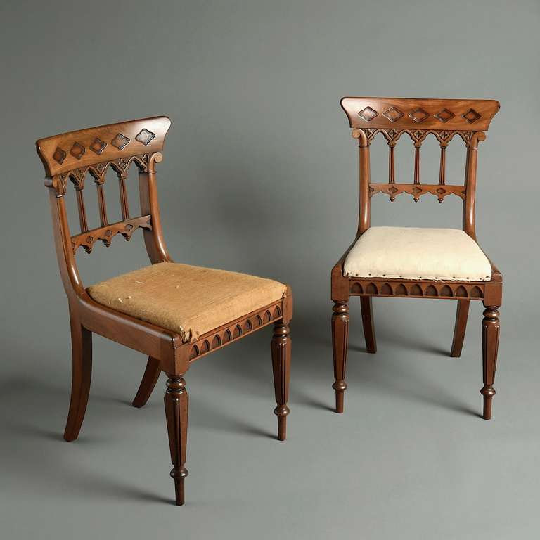 Eight Regency Gothic Dining Chairs At 1stdibs