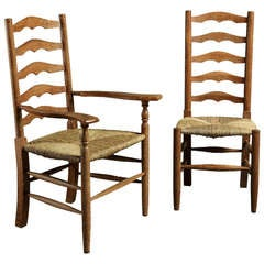 Eight Arts & Crafts Ladderback Chairs