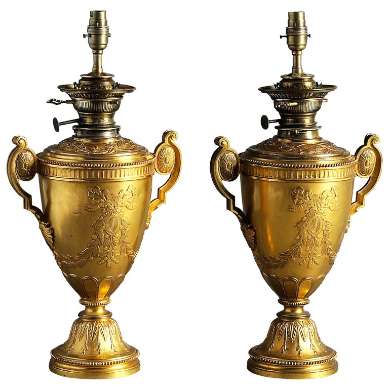 late victorian neoclassical gilt brass table lamps for sale at 1stdibs. Black Bedroom Furniture Sets. Home Design Ideas