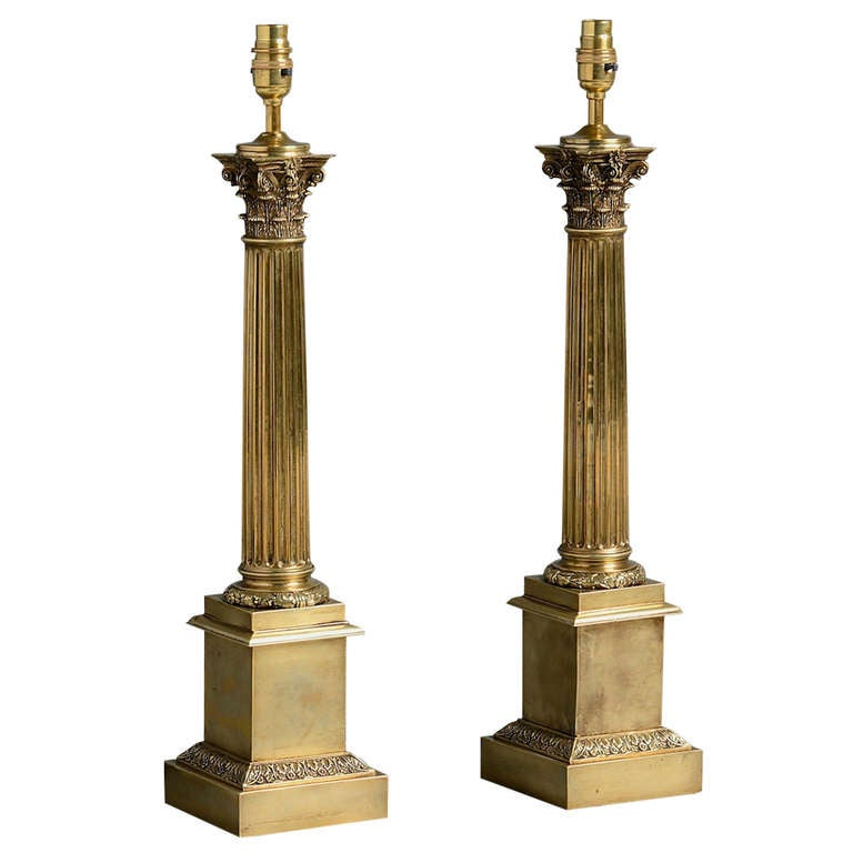 Pair of victorian brass column lamps for sale at 1stdibs Victorian columns