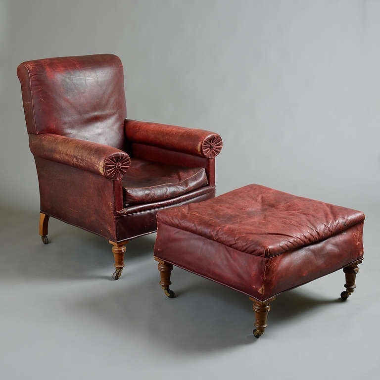 Victorian Red Leather Chair And Stool At 1stdibs