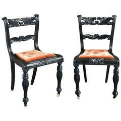Pair of Anglo-Indian Ebony Side Chairs