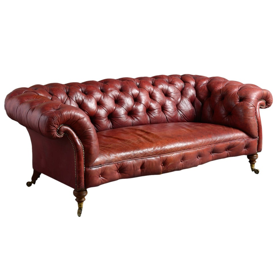 Howard Red Leather Sofa For Sale
