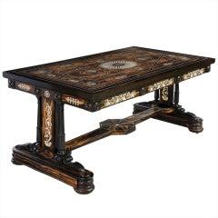 17th Century Florentine Palisander Tabletop on Early 19th Century Ebony Base