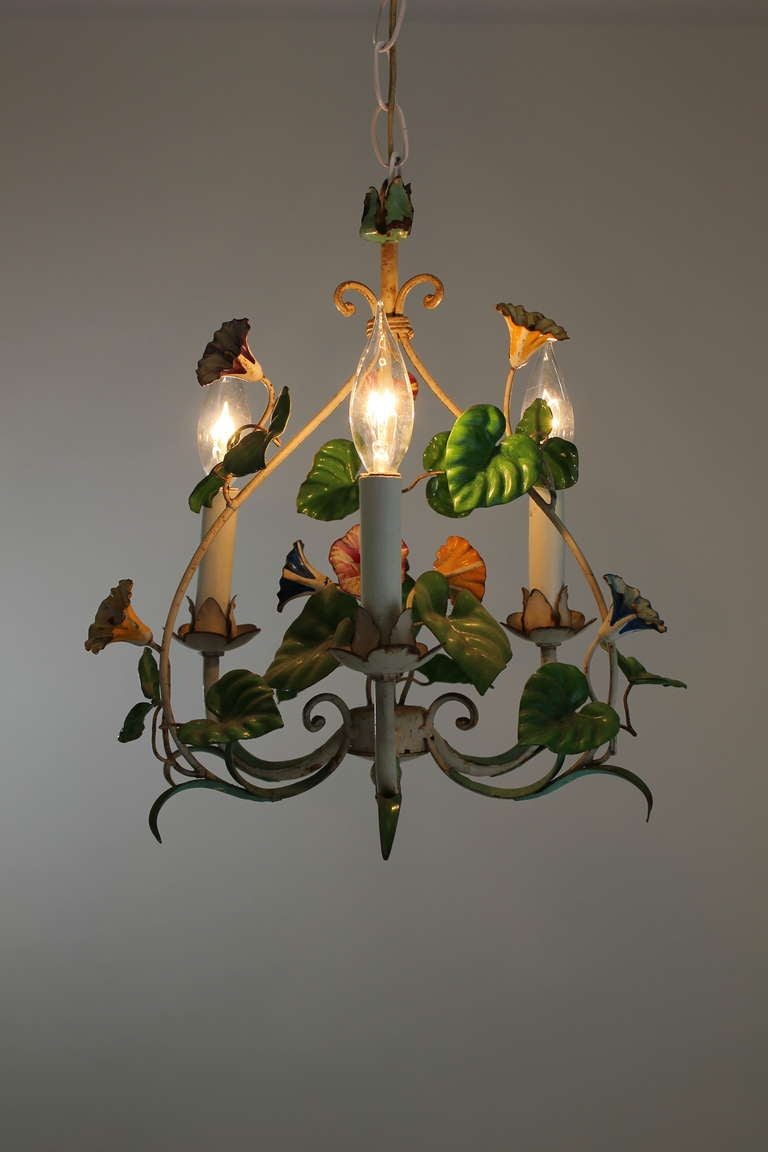 Vintage European Tole Chandelier With Floral Motif 3 - Vintage European Tole Chandelier With Floral Motif At 1stdibs