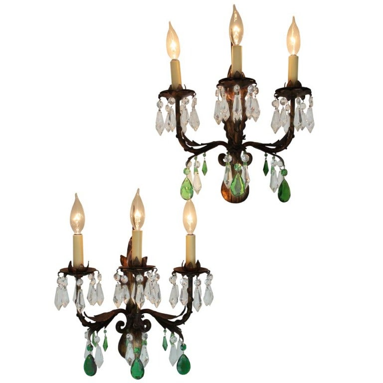 Pair of Gilt Italian Tole Sconces with Crystal Prisms