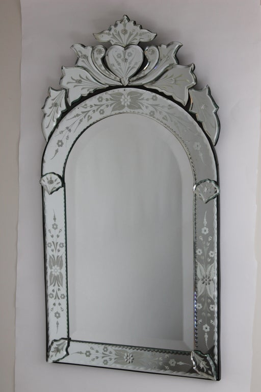Venetian Mirror With Arched Top And Heart Detail At 1stdibs