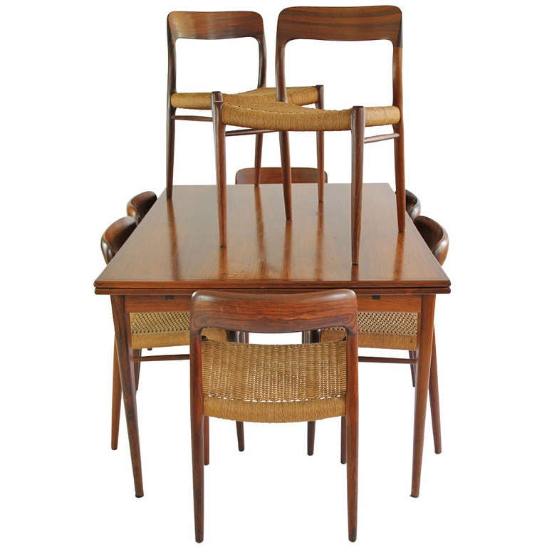Jl Moller Dining Set Expandable Double Leaf Table With 8