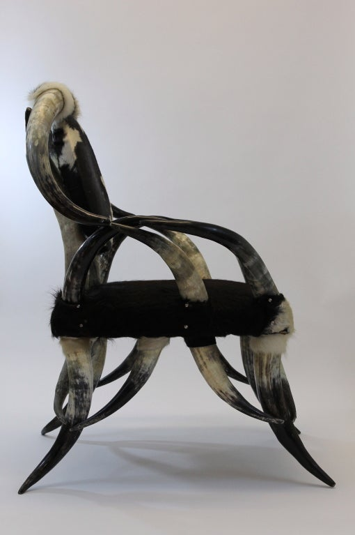 Cowhide And Steer Horn Longhorn Chair And Foot Stool At