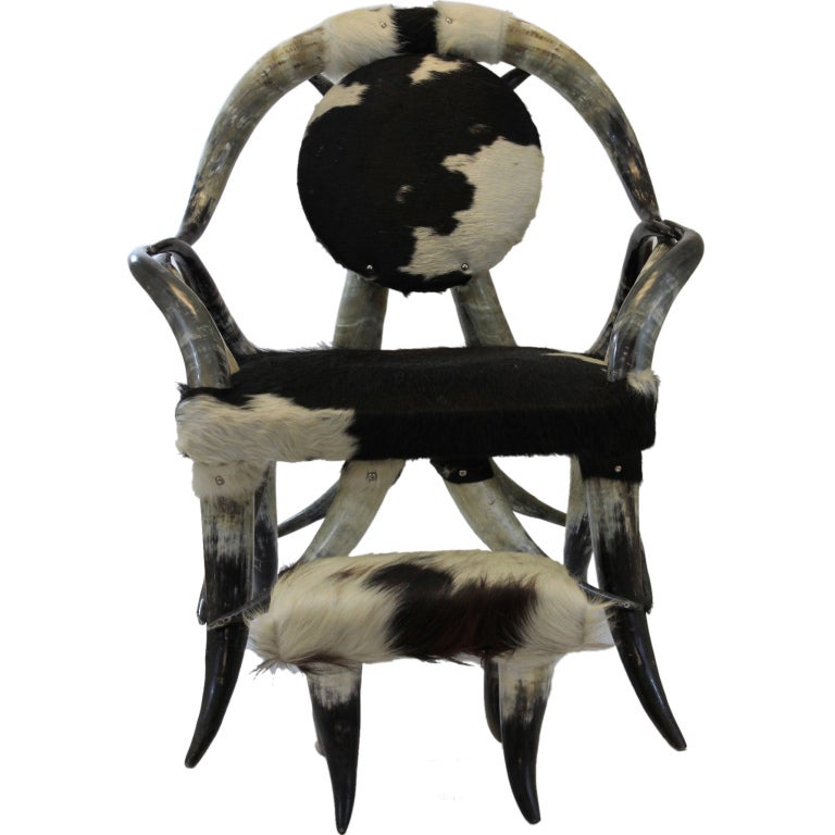 Cowhide And Steer Horn Longhorn Chair And Foot Stool For Sale