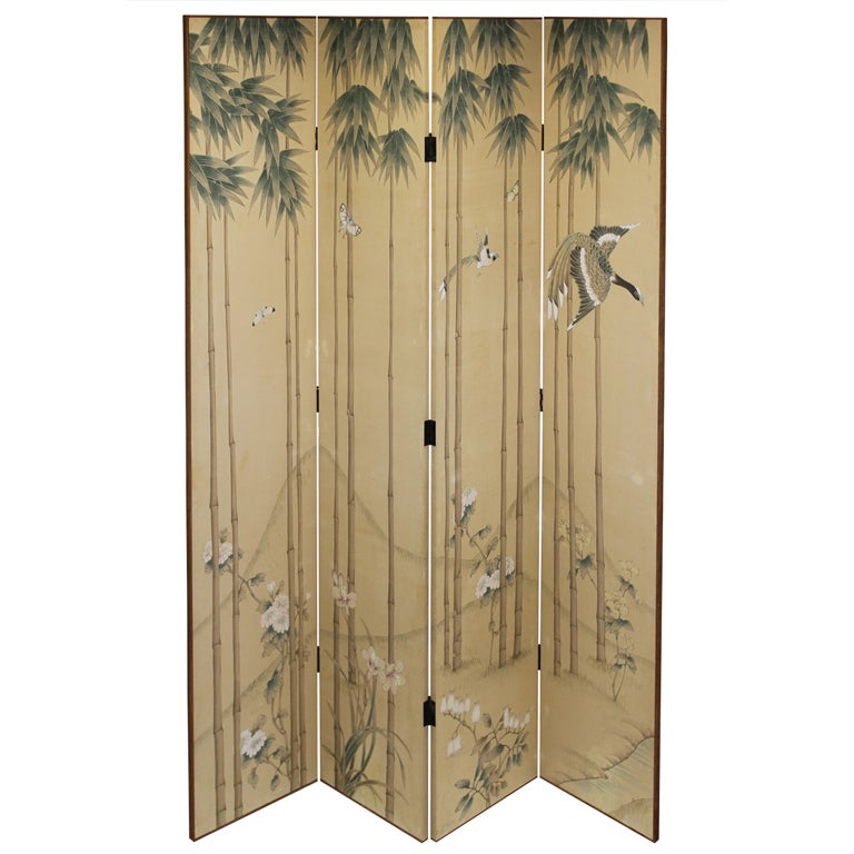 japanese handpainted silk and wood screen at 1stdibs