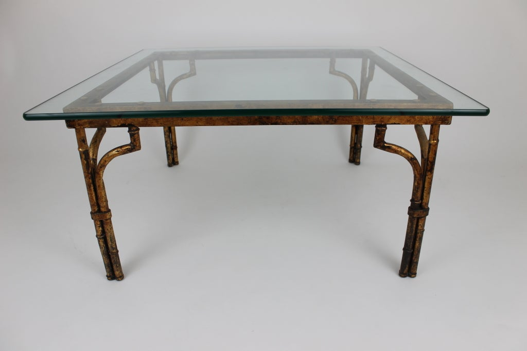 Faux bamboo with gilding hollywood regency style table for for Coffee tables 16 inches high