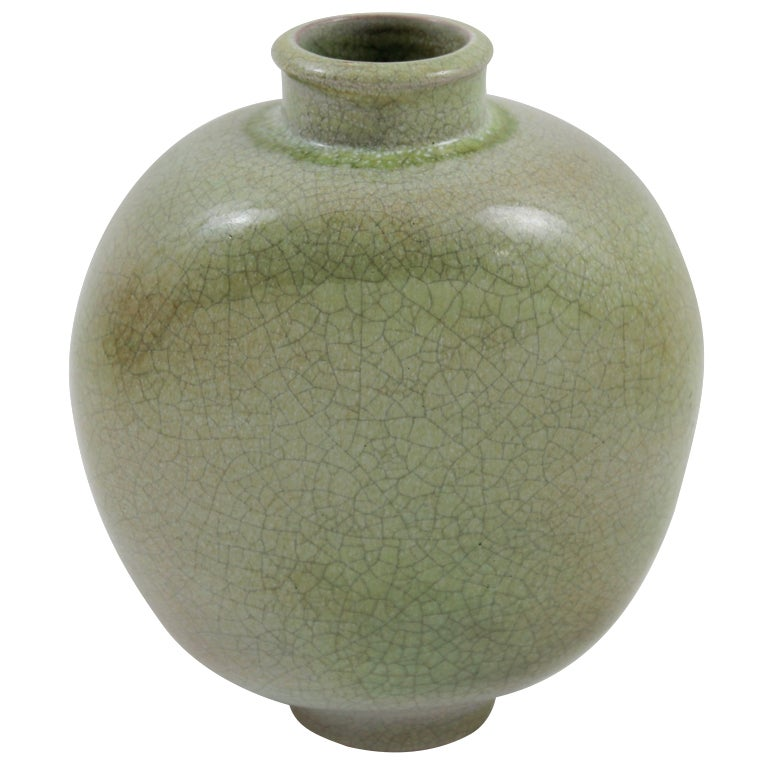 Chantal Pottery Vase With Crackled Finish By Karlsruhe For Sale At