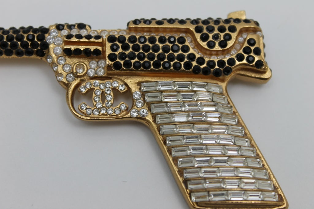 Chanel Handgun With Strass Crystals And CC Logo 2