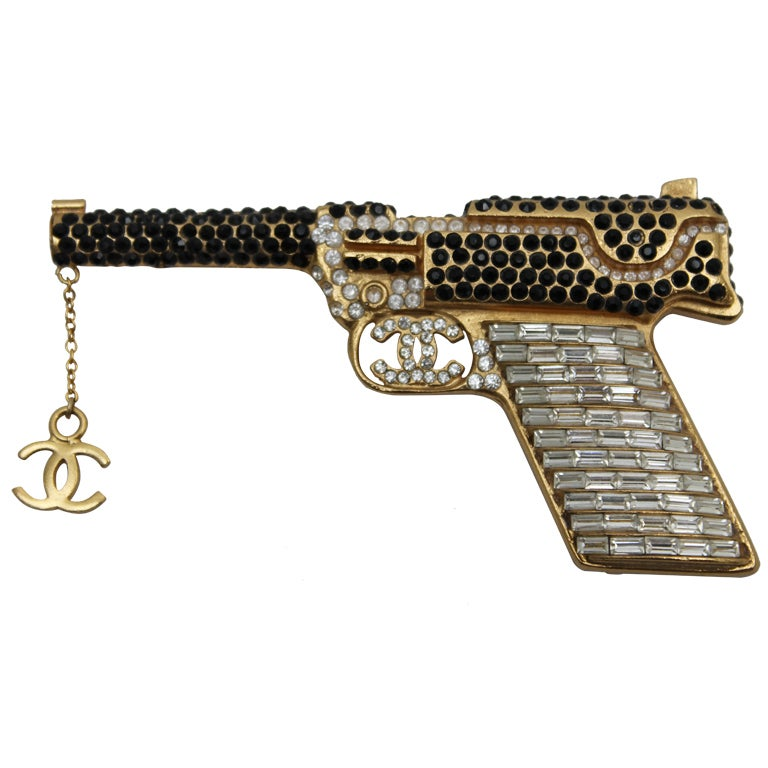 Chanel Handgun With Strass Crystals And CC Logo