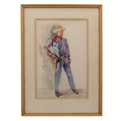 Cowboy Watercolor by Ramón Espino Barros