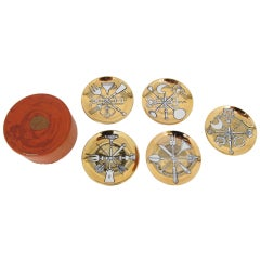 Set of Five Coasters by Piero Fornasetti Milano.