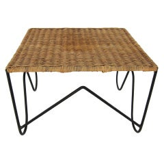 Mid Century Wrought Iron and Wicker Small Table or Footstool