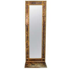 Gold Gilt Faux Bamboo Wall Mirror With Shelf