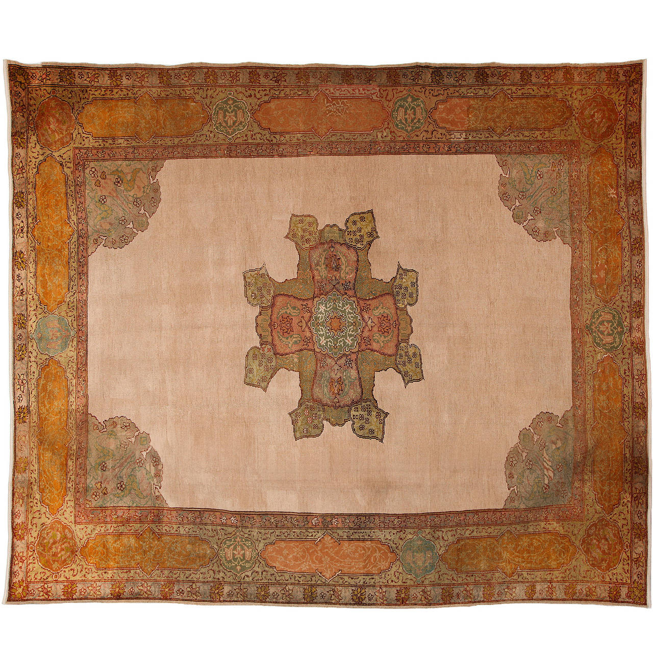 Turkish Oushak Carpet in Pure Wool and Natural Vegetable Dyes, circa 1880