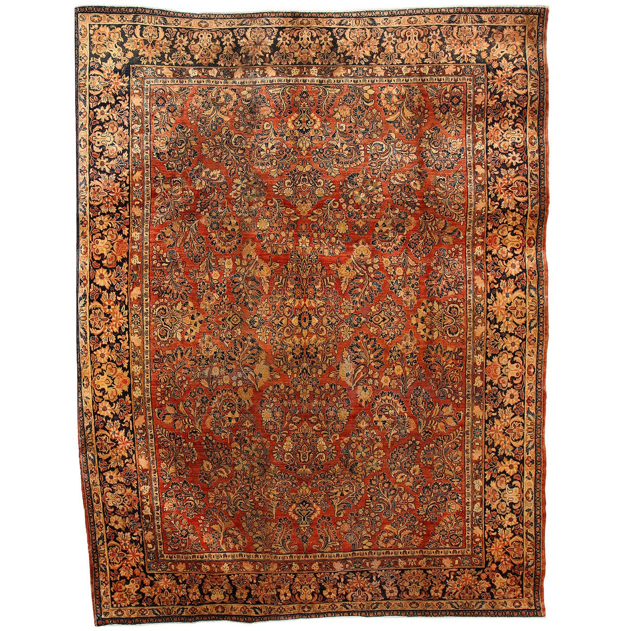 Persian Sarouk Carpet with Pure Wool Pile and Natural Vegetable Dyes, circa 1910 For Sale
