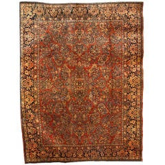 Persian Sarouk Carpet with Pure Wool Pile and Natural Vegetable Dyes, circa 1910