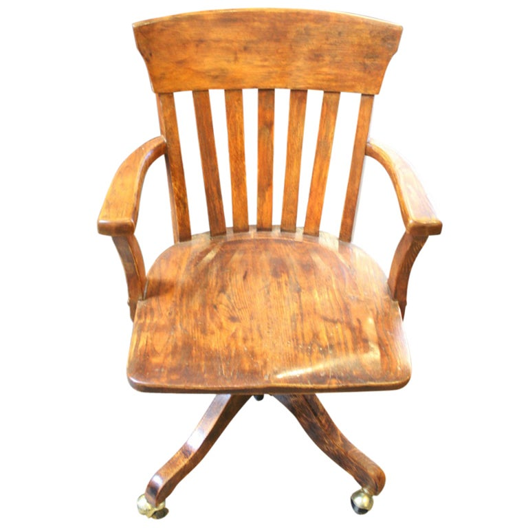 Vintage Wooden Desk Chair At 1stdibs