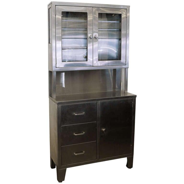 Vintage Stainless Steel Stepback Cabinet at 1stdibs