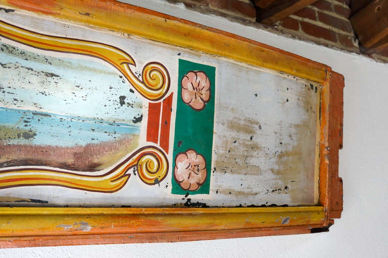 Hand Painted Antique Carousel Panel 1920s In Distressed Condition For Sale In Alhambra, CA