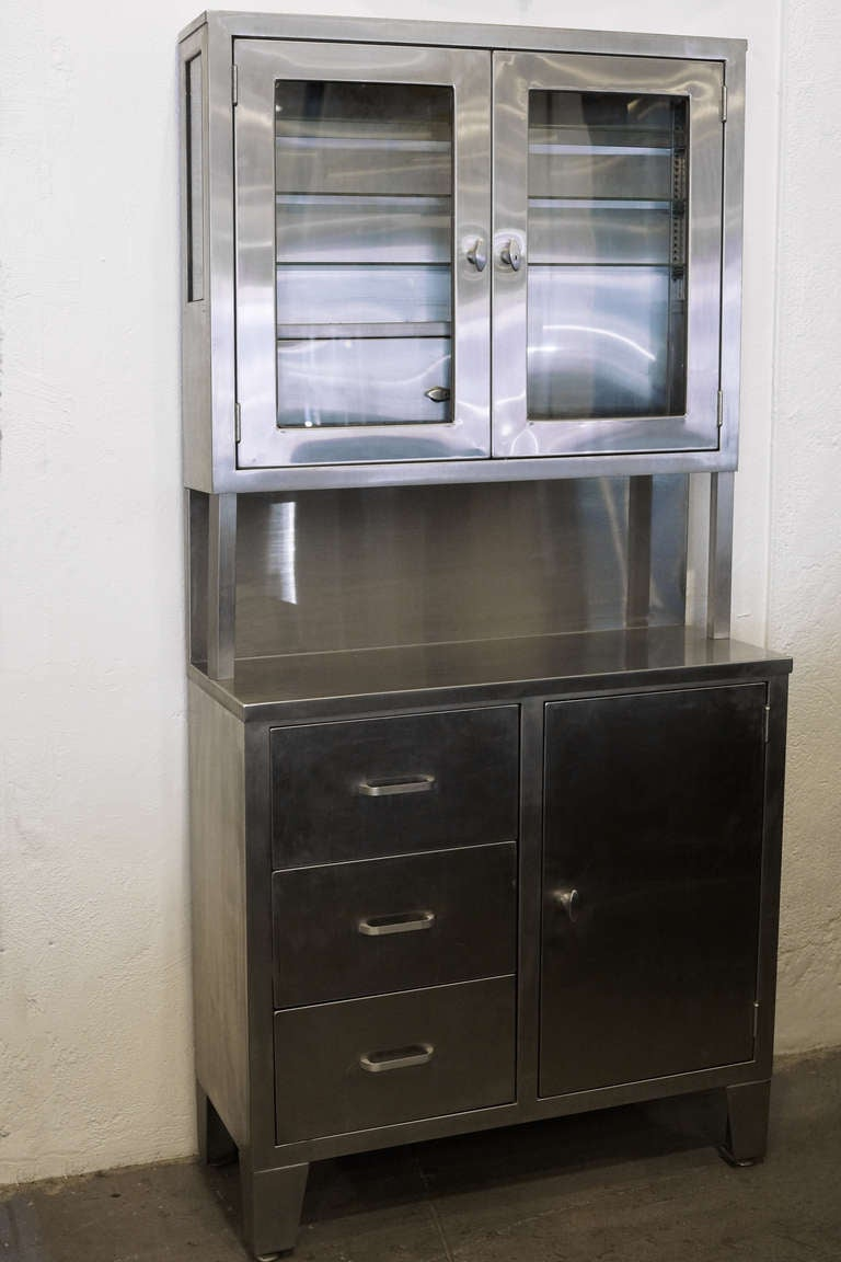 Vintage Stainless Steel Stepback Cabinet At 1stdibs