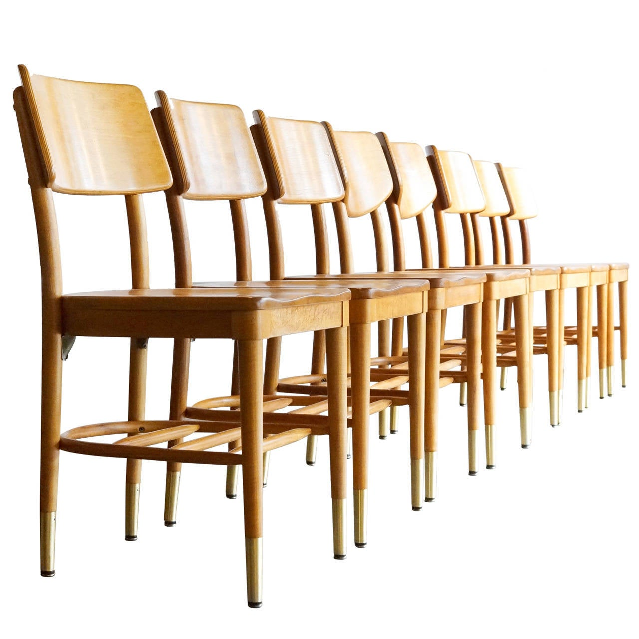 Set of 8 Bentwood School Chairs by Thonet, 1950s For Sale