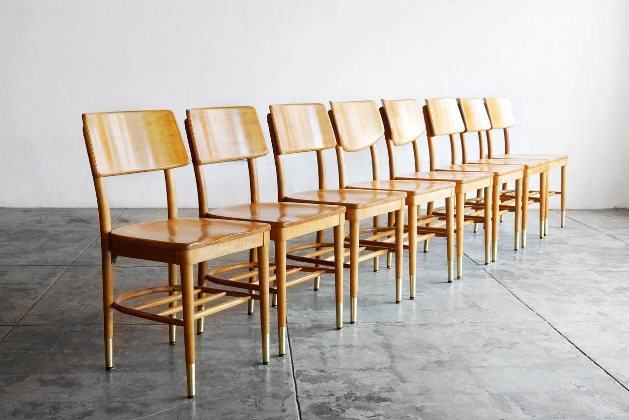 Mid-Century Modern Set of 8 Bentwood School Chairs by Thonet, 1950s For Sale