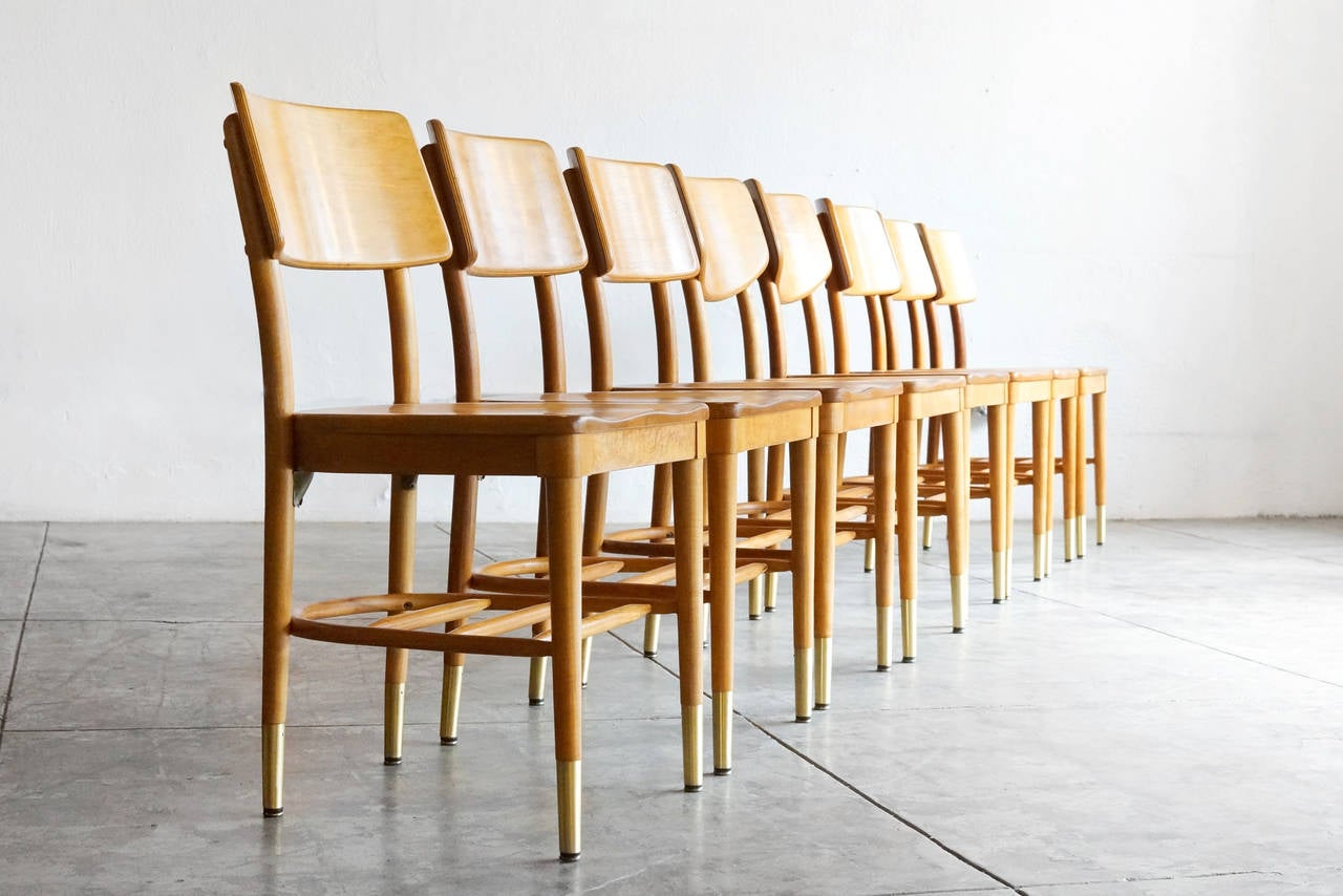 Classic set of mid-century bentwood wood chairs by iconic modernist designer and wood craftsman Thonet. 