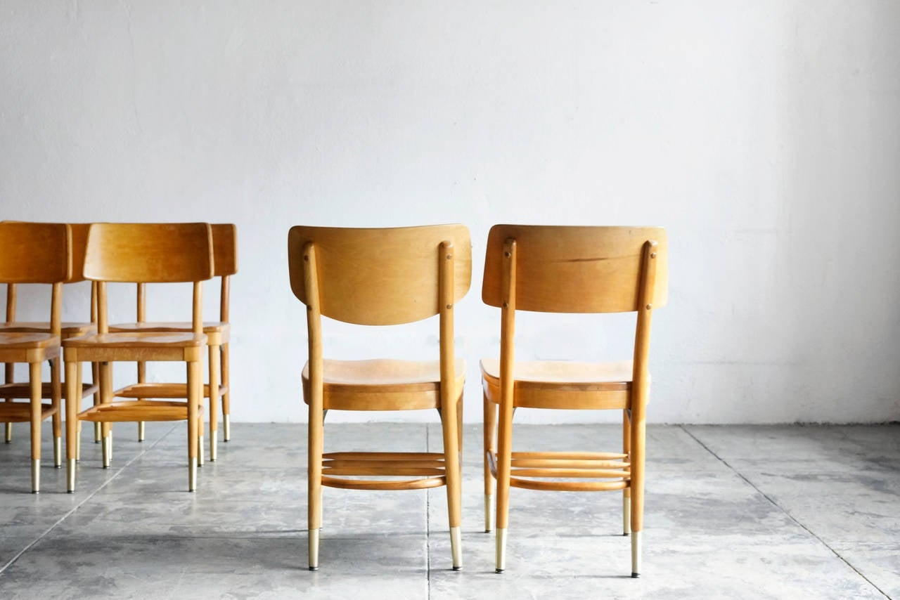 Mid-20th Century Set of 8 Bentwood School Chairs by Thonet, 1950s For Sale