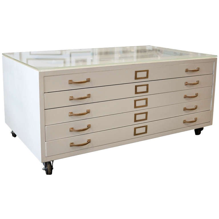 Flat File Coffee Table In High Gloss White With Brass Hardware At 1stdibs