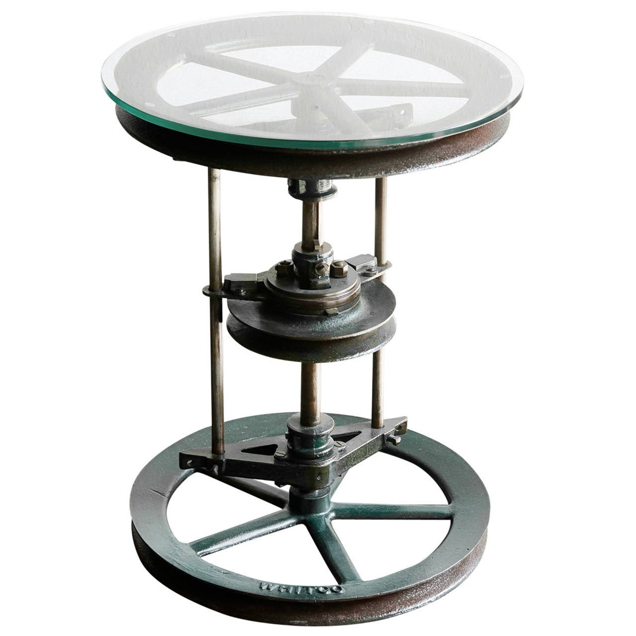Reclaimed antique cast iron and glass industrial side for Cast iron table with glass top