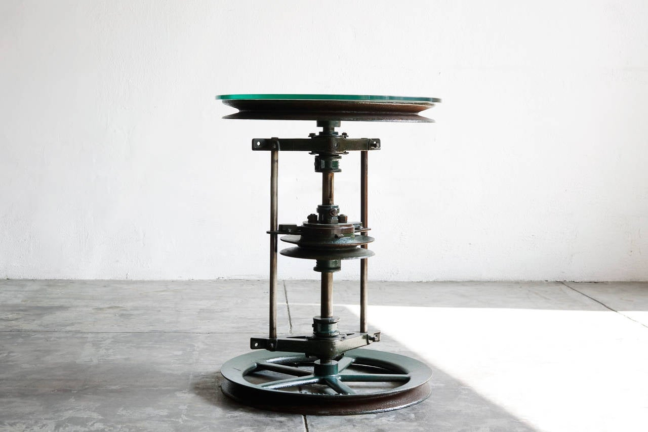 reclaimed antique cast iron and glass industrial side table at 1stdibs. Black Bedroom Furniture Sets. Home Design Ideas