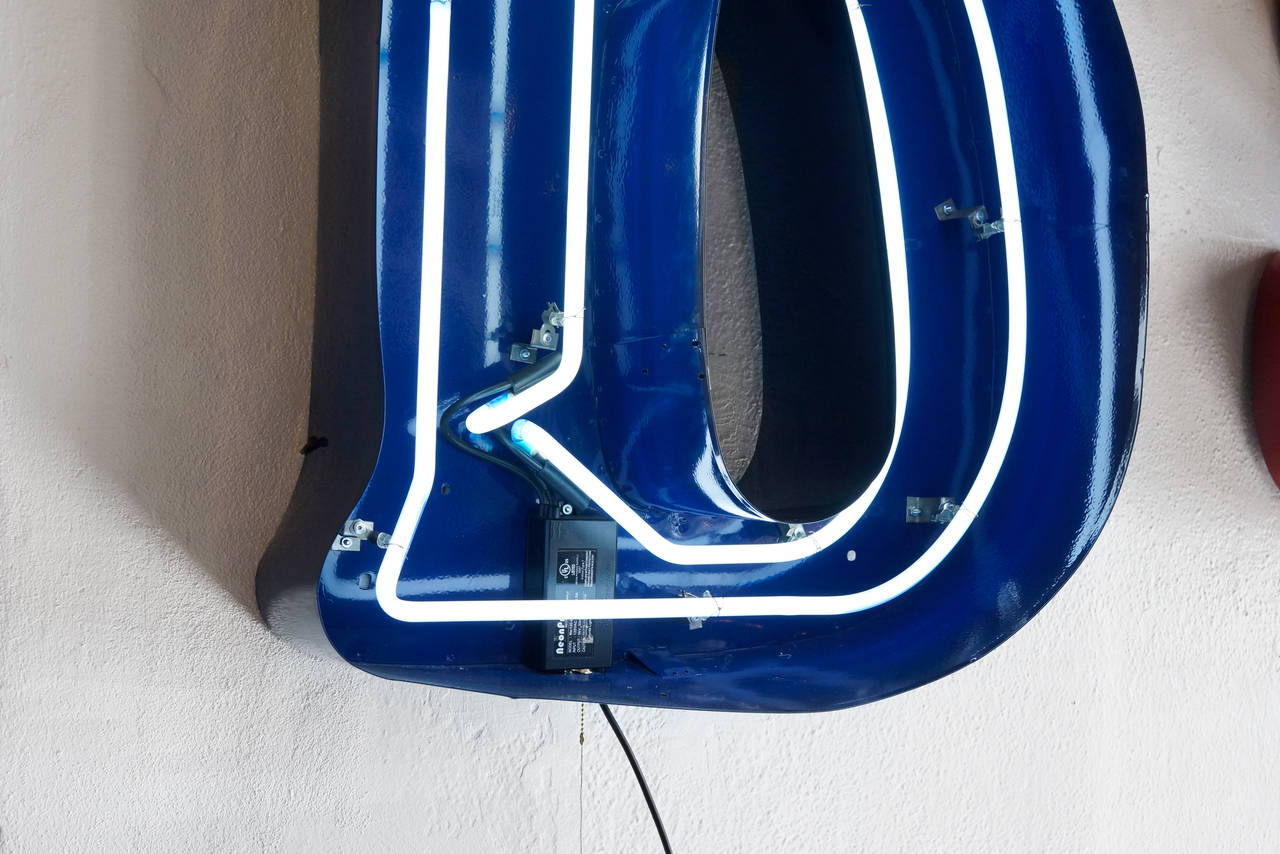 Large vintage neon channel letter quotbquot refinished sign at for Large neon letters