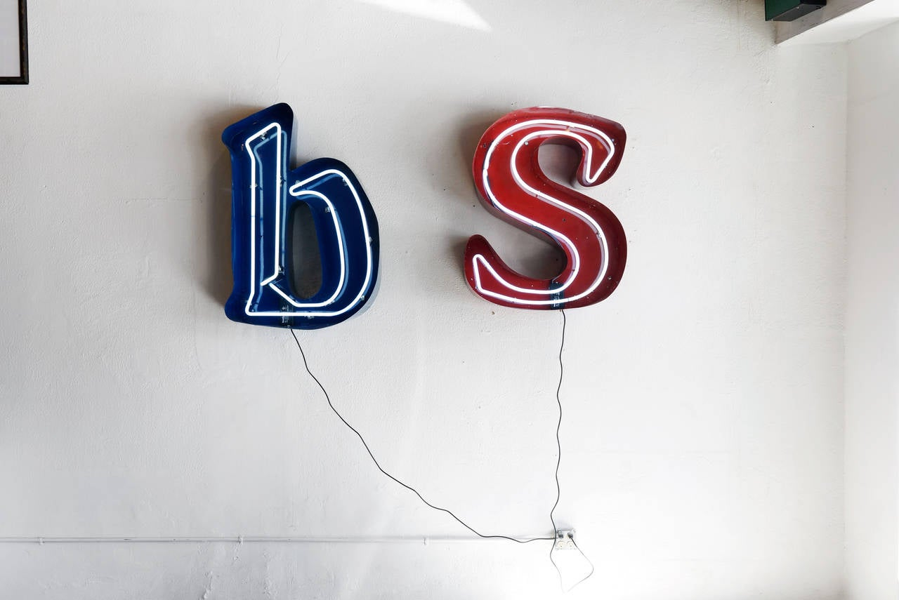 Large vintage neon channel letter b refinished sign at for Furniture 7 letters