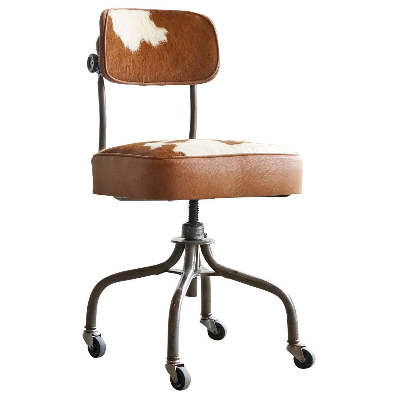 1940s Steelcase Task Chair In Cowhide At 1stdibs