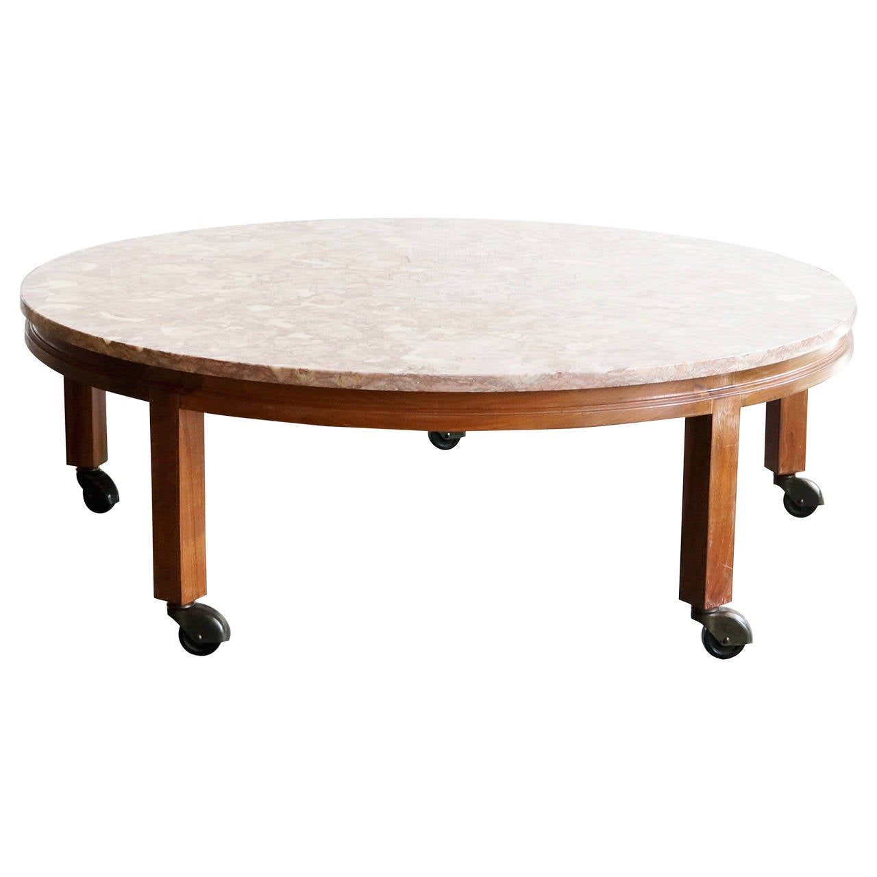 Vintage pink marble and walnut round coffee table at 1stdibs for Marble and walnut coffee table