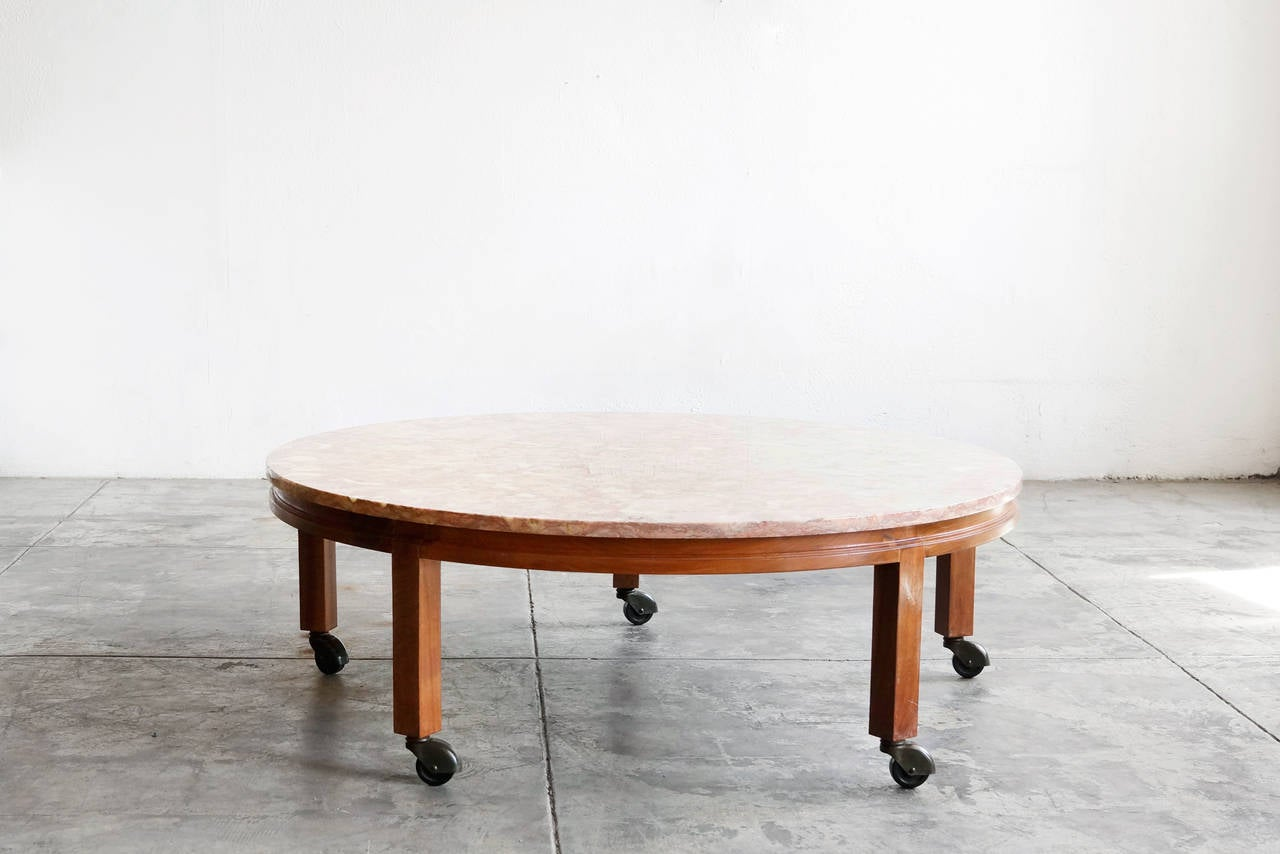 Vintage Pink Marble And Walnut Round Coffee Table At 1stdibs