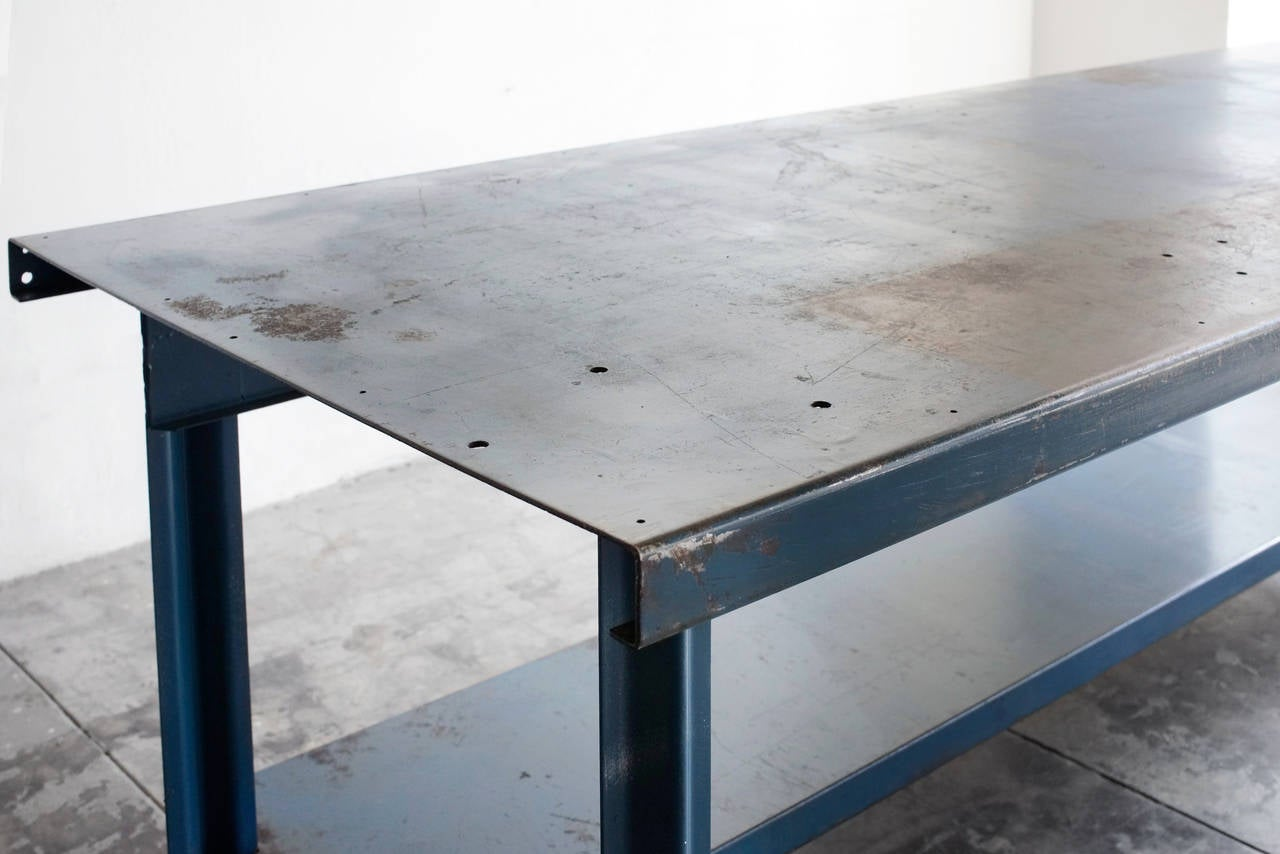 Vintage Blue Steel Industrial Workbench Circa 1950s At 1stdibs
