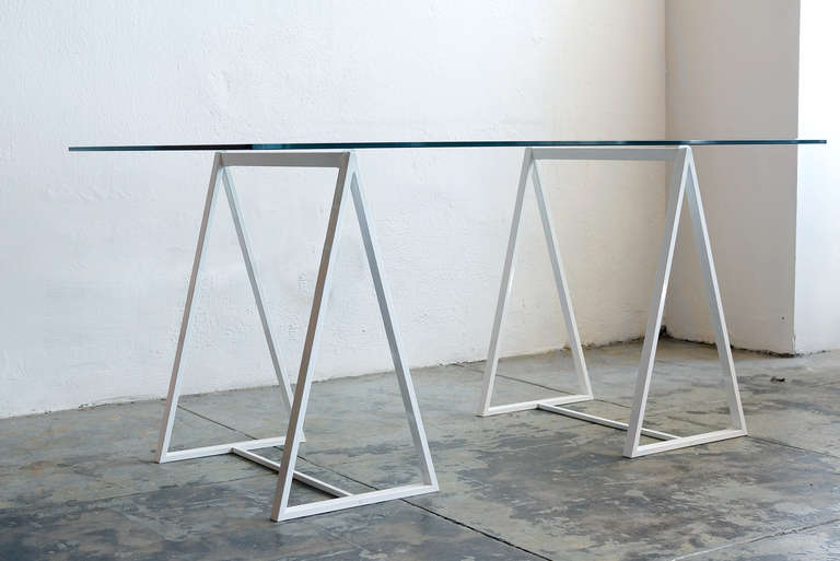 Minimalist Saw Horse Triangle Table Legs, C. 1960s 2 Part 61