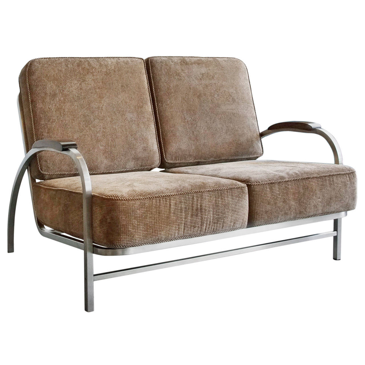 Retro Style Sofa Fulham 2 Seater Sofa Natural Fabric Retro Style Thesofa