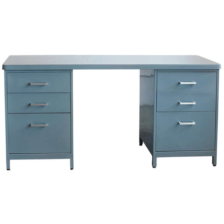 Tanker Console Desk Knee Space Credenza Refinished C
