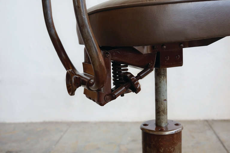 Vintage Machine Age Drafting Stool With Back At 1stdibs